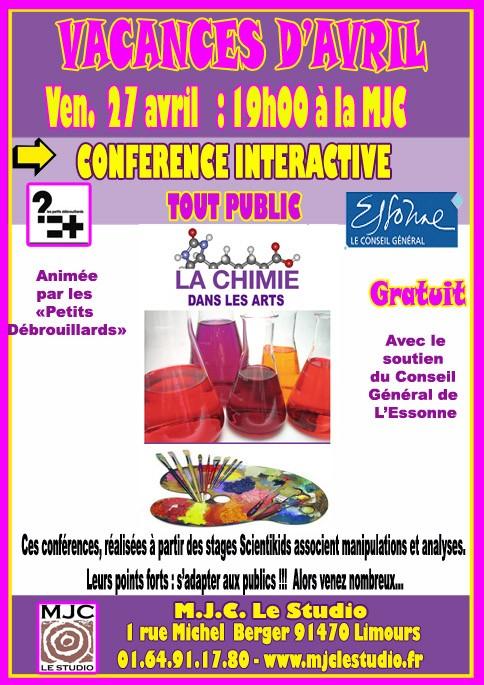 """Conférence interactive """"La Chimie dans les Arts"""" à Limours le 27 avril"""