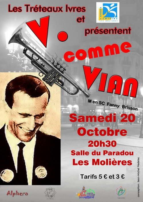 """Théâtre le 20 octobre au Paradou """"V comme Vian"""""""