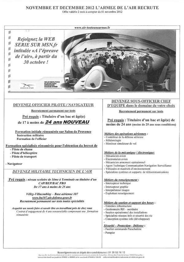 Emploi : recrutements de l'Armée de l'Air