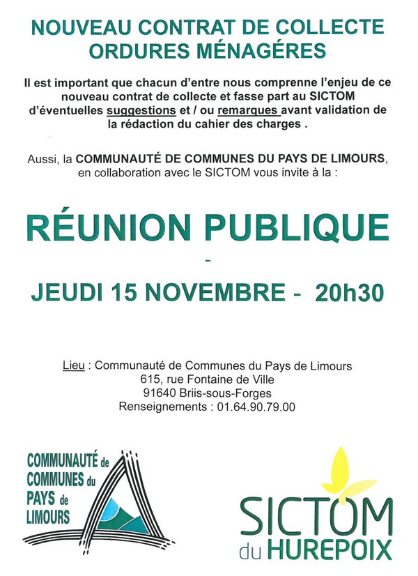 SICTOM : réunion publique le 15 novembre