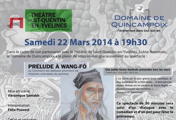 """Spectacle """"Prélude à Wang-Fô"""" à Quincampoix le 22 mars"""