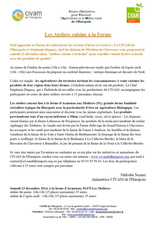 13 décembre : ateliers de cuisine à la ferme d'armenon | les ... - Cours De Cuisine Essonne
