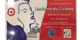 """La commune est encore lauréate de la """"Marianne du Civisme"""""""