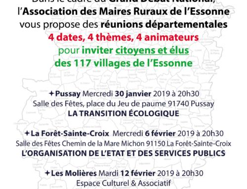 Les dates du Grand Débat National, proposées par les Maires Ruraux de l'Essonne