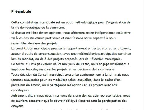 """Le Conseil municipal a adopté la """"Constitution Municipale"""""""